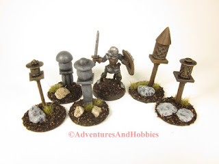 Miniature shrines designed for 25 to 28 mm scale table top wargames and role-playing games.