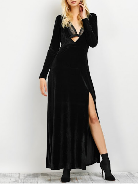 Long Sleeve High Slit Low Cut Maxi Dress - Black L
