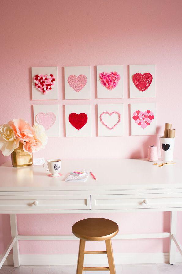 Dia dos namorados 2019 decoração quadros de corações com vários materiais