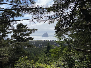 A view of Haystack Rock from a hill in Pacific City.