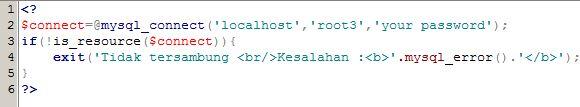 source code untuk koneksi