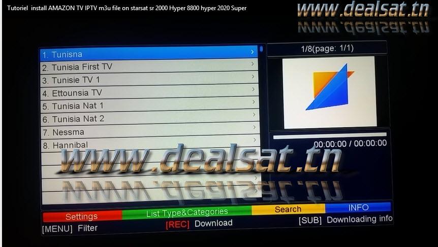 video Tutoriel install AMAZON TV IPTV m3u file on starsat sr