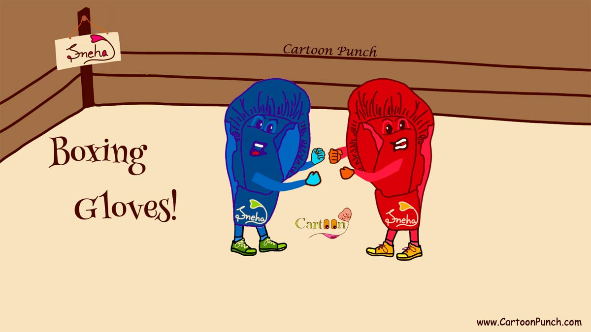 boxing gloves cartoon punch illustration by sneha