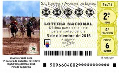 decimos del sorteo de loteria nacional del sabado 3 de diciembre de 2016