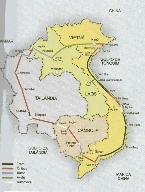 mapa do roteiro do livro Vietnã pós-guerra