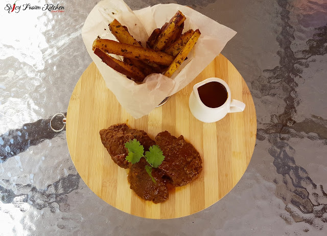 steak, fillet steak, steak recipe, saucy steak, steak pictures, sweet potato, sweet potato fries, potato fries, sweet potato fries recipe, pinterest, pinterest food, food, food blog, food blogger, foodie, side dish recipe, cooking video, spicy food, spicyfusionkitchen,  food plating, food styling, food stylist