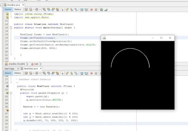 How to Drawing Arc java