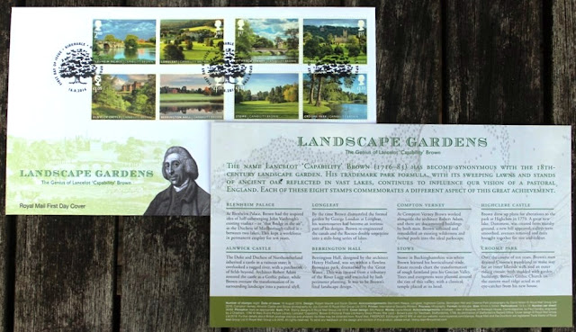 Capability Brown commemorative stamps issued by Royal Mail on 16th August 2016