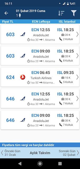 AeroBilet, Yetişkin Fiyatı, Screenshot