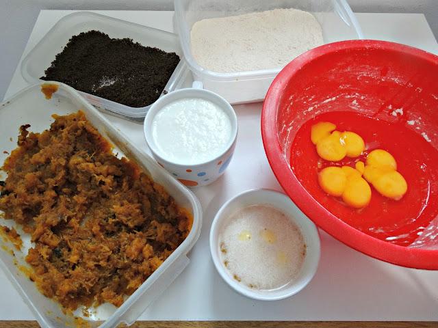 Ingredientes para los muffins de anco calabaza
