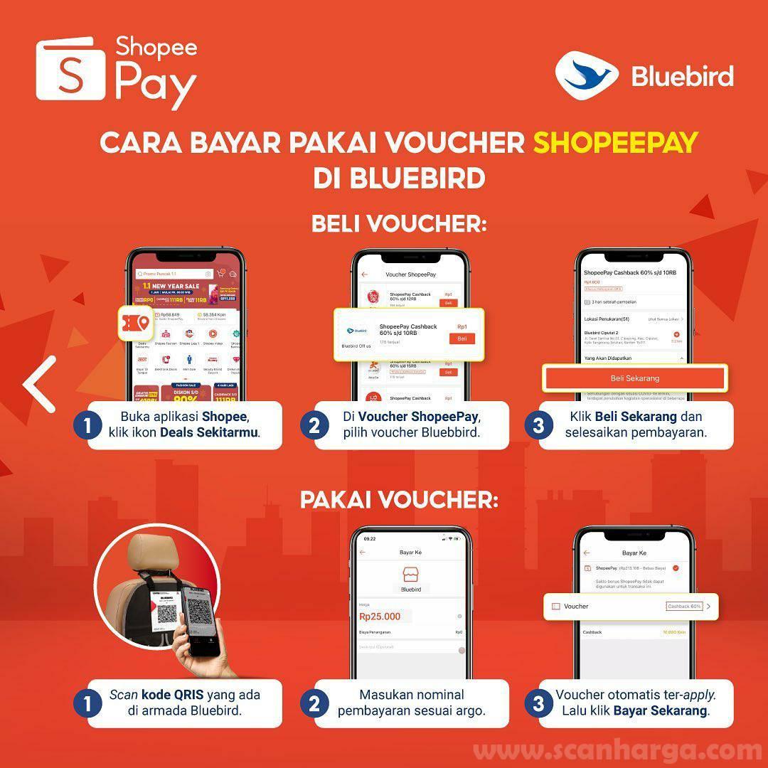 BLUE BIRD Spesial Promo ShopeePay! Dapatkan Cashback 30% & Voucher Cashback 60%