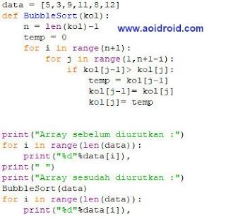 kode bubble sort ascending python