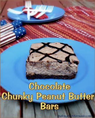 Chocolate Chunky Peanut Butter Bars, tons of chocolate and peanut butter flavors in these easy to make bars. | Recipe developed by www.BakingInATornado.com | #recipe #dessert