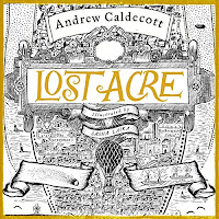 Lost Acre audiobook cover. An intricate map illustrated by Sasha Laika in black and gold.