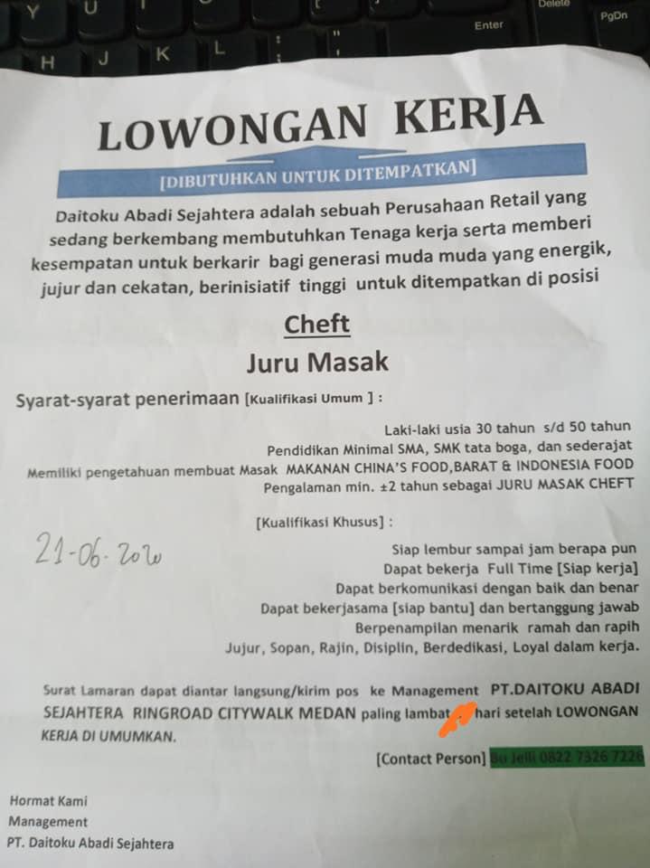 Loker Medan Lulusan Sma Smk Juni 2020 Pt Daitoku Abadi Sejahtera Lowongan Kerja Sma Smk D3 S1 April 2021
