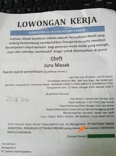 Loker Medan Lulusan SMA SMK Juni 2020 PT Daitoku Abadi Sejahtera