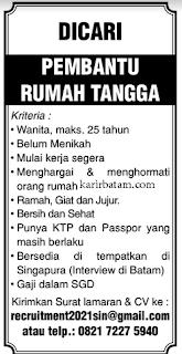 Lowongan kerja Pembantu Rumah Tangga (Ditutup 21 Januari 2021)