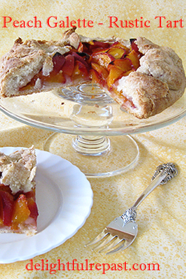 Peach Galette - Crostata - Rustic Tart for Two - Pie Without a Pie Plate / www.delightfulrepast.com