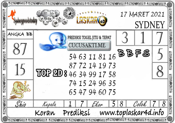 Prediksi Togel SYDNEY LASKAR4D 17 MARET 2021