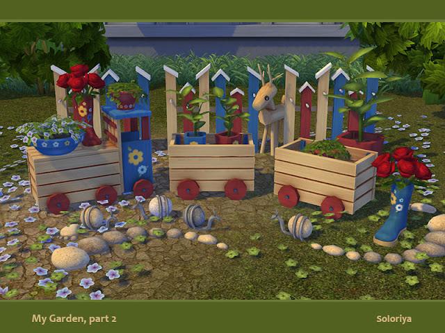 My Garden, part 2 Мой сад, часть 2 для The Sims 4 Декоративные и функциональные предметы для ваших садов. Включает в себя 9 объектов, 3-6 цветовых вариаций. Предметы в наборе: -- два стола - птичьи домики (декоративный забор) - каменная улитка - пять видов цветов. Автор: soloriya