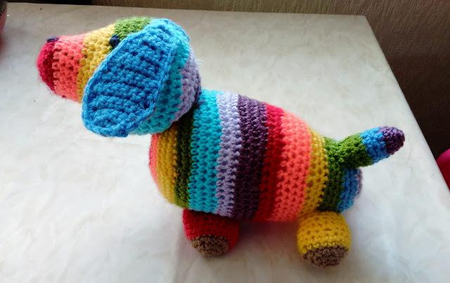 crochet sausage dog.