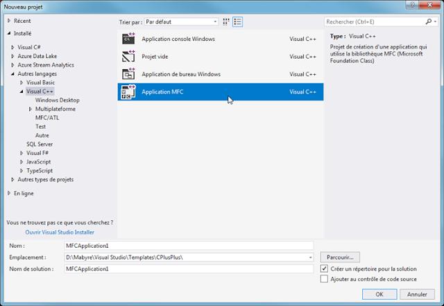 Application de bureau Windows avec MFC en C++