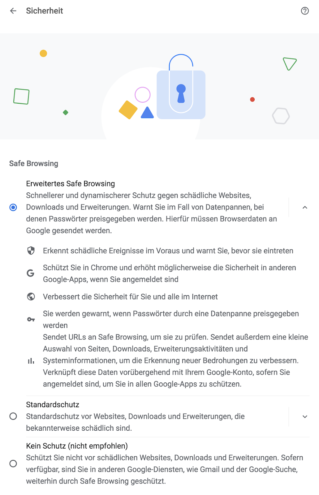Screenshot der Sicherheitseinstellungen mit Safe Browsing