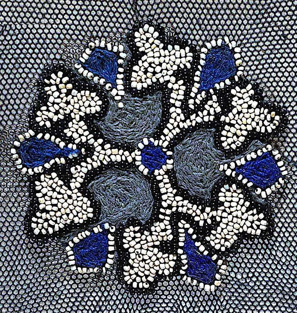 a women's blue dress trim attachment 1890 in a color photograph