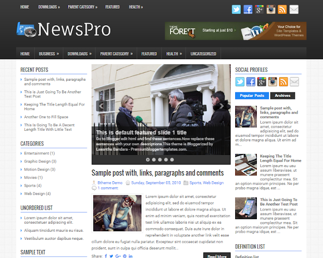 NewsPro Blogger Template