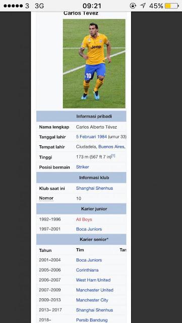 Wikipedia Sebut Carlos Tevez Gabung Persib Bandung