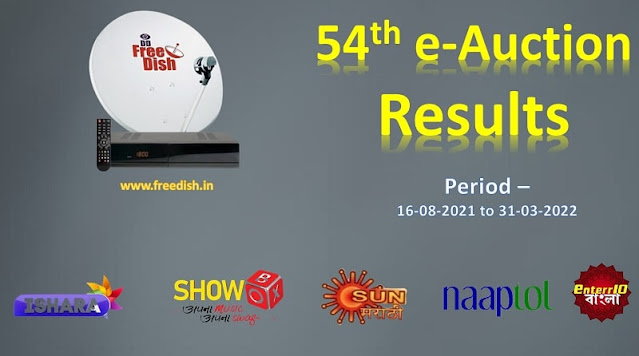 54th e-Auction Results - 5 New TV channels coming from 16th August