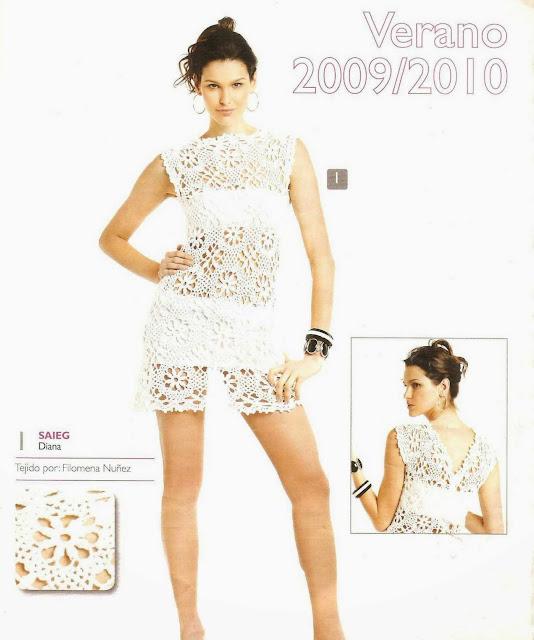 Patrón #1534: Vestido a Crochet