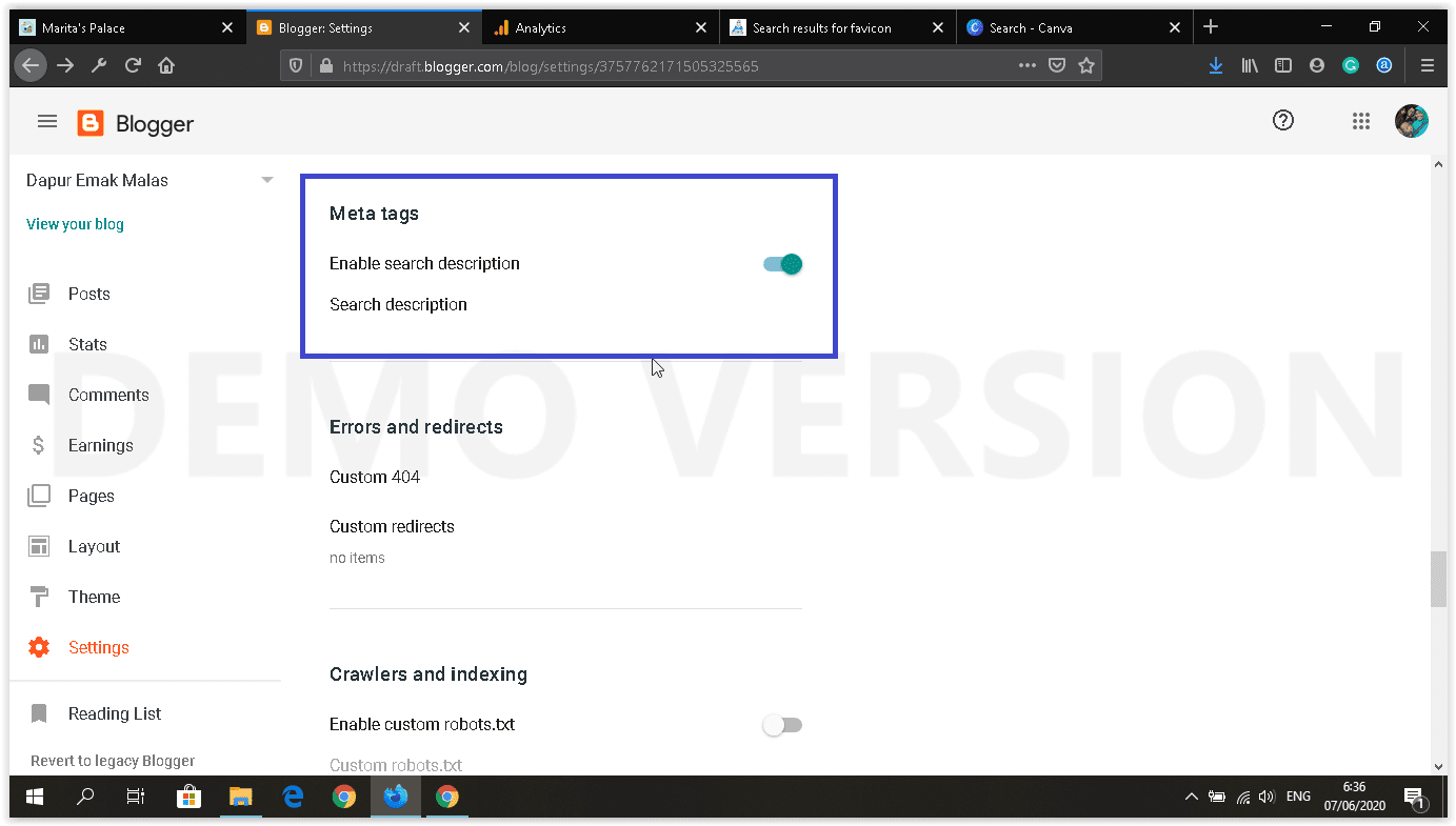 dashboard blogger baru setting meta tags
