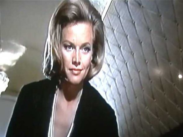 Honor Blackman as Pussy Galore in Goldfinger jamesbondreview.blogspot.com