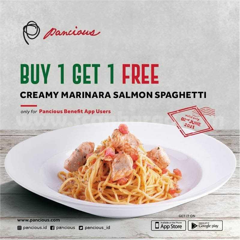 Promo PANCIOUS Beli 1 Gratis 1 Creamy Marinara Salmon Spaghetti