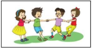 ilustrasi permainan tarik tangan
