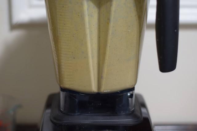 The carbonara sauce blending in the blender.