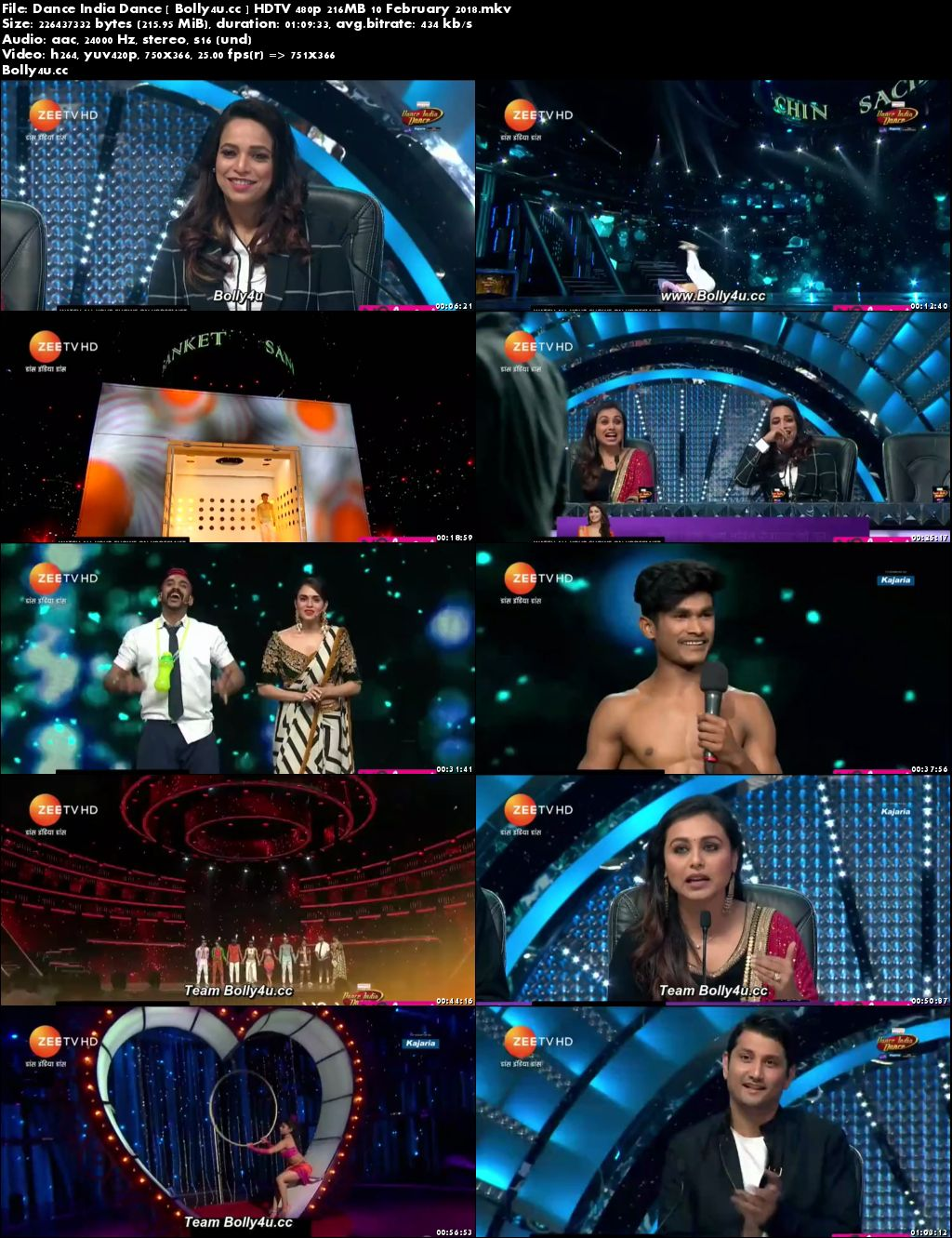 Dance India Dance HDTV 480p 200MB 10 February 2018 Download