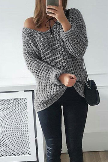 Grey One Shoulder Casual Sweater