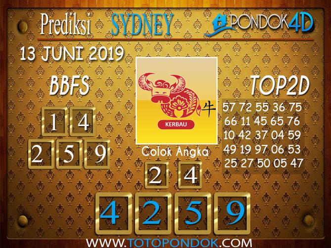 Prediksi Togel SYDNEY PONDOK4D 13 JUNI 2019