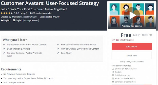 [100% Off] Customer Avatars: User-Focused Strategy| Worth 49,99$