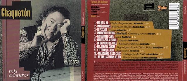"""CHAQUETÓN, ENRIQUE DE MELCHOR """" MIS ADENTROS"""" FLAMENCO EN EL FORO 2002 CD"""
