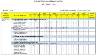Format Penilaian Bulanan PAUD/ TK Kurikulum 2013