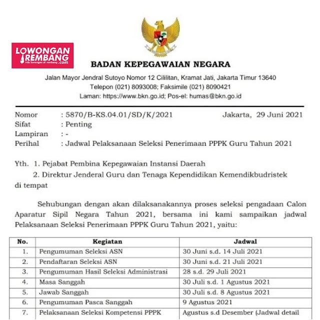 Jadwal Pelaksanaan Seleksi Penerimaan PPPK Guru Tahun 2021 Rembang