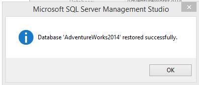 Database 'AdventureWorks2014' restored successfully.