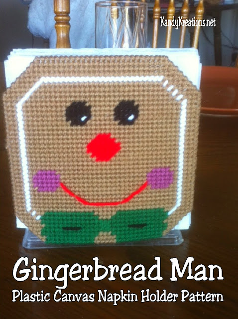 Decorate your kitchen or Christmas party with this free plastic canvas pattern for your Dollar Store napkin holder.  Easily add a bit of Gingerbread whimsy with this Gingerbread man pattern that slides over your holder and brightens up your home.