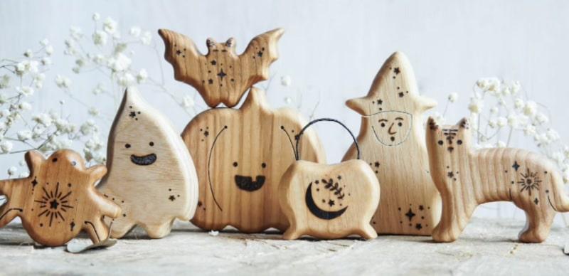 tiny fox hole halloween wooden figurines