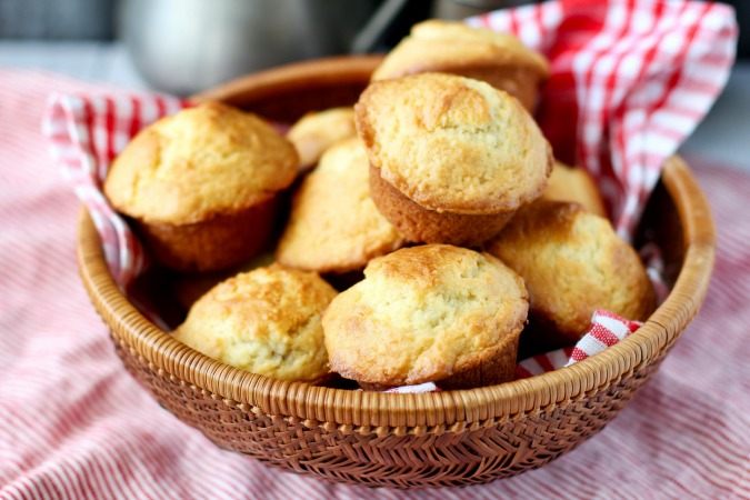 Jam-filled muffins in a basket