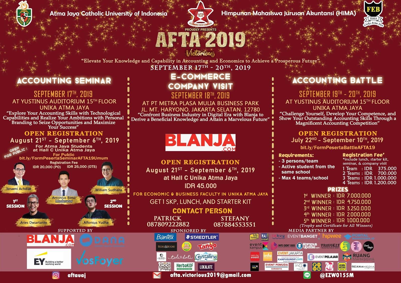 Universitas Atma Jaya - AFTA 2019