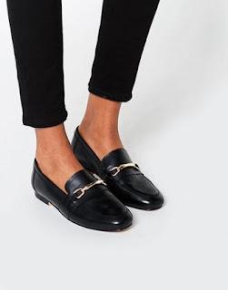 asos - mocassin noir en cuir
